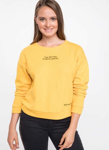 DeFacto Uzun Kollu Baskılı T-shirt Sarı